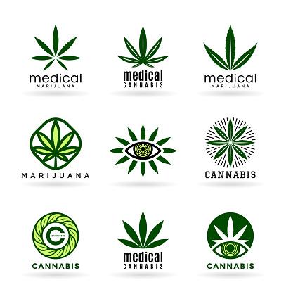 Medical marijuana and cannabis icon vector, green hemp leaves