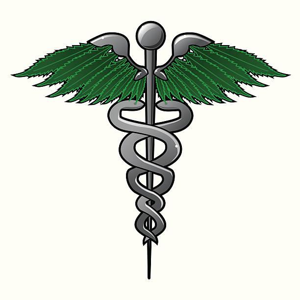 Medical Marijuana - Caduceus vector art illustration