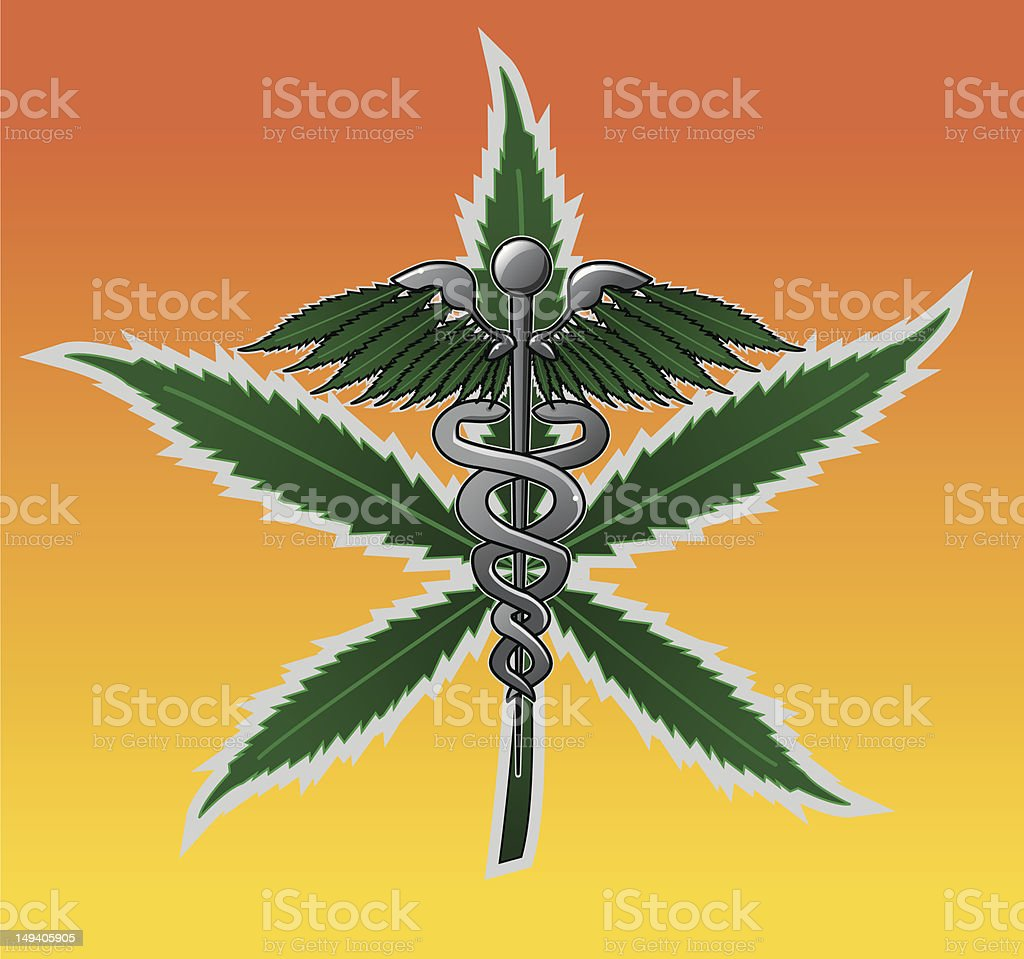 Medical Marijuana - Caduceus vector art illustration