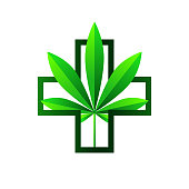 Medical marijuana concept with cannabis leaf and cross. Vector illustration, gradient colors and modern style isolated on white background.