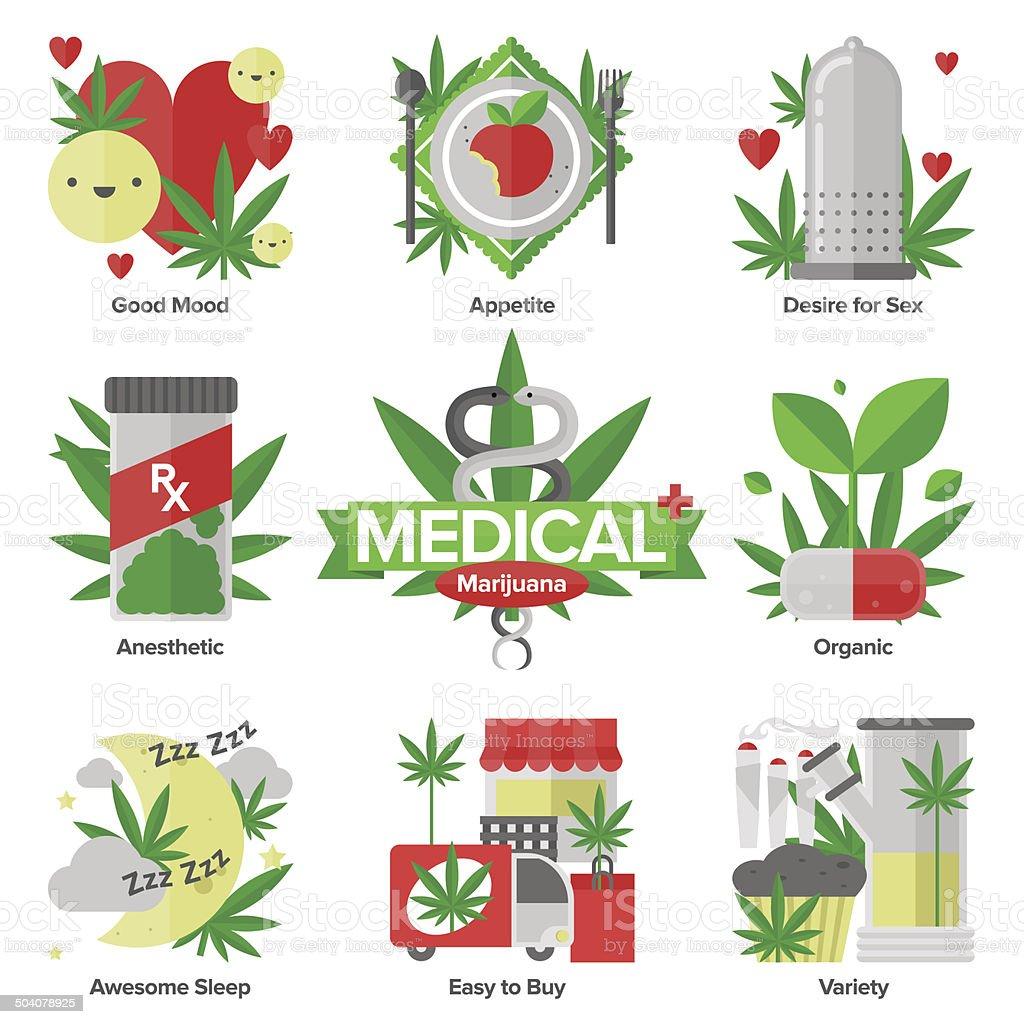 marijuana médico plana, conjunto de ícones - ilustração de arte em vetor