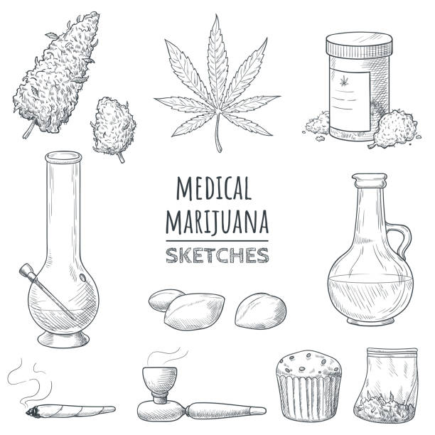 Medical marijuana hand drawn sketches. Marijuana buds, cannabis leaf, weed joint, bong, oil, smoking pipe, bake, packing bag, ganja seeds. Elements for your design in doodle style. Vector eps 10. Medical marijuana hand drawn sketches. Marijuana buds, cannabis leaf, weed joint, bong, oil, smoking pipe, bake, packing bag, ganja seeds. Elements for your design in doodle style. Vector eps 10. marijuana stock illustrations