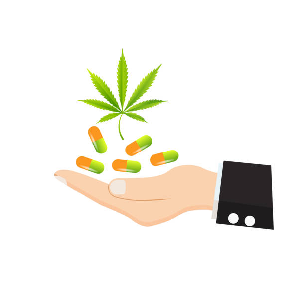 Medical marijuana icons pills, Rx bottles and other medicinal cannabis symbols. vector art illustration
