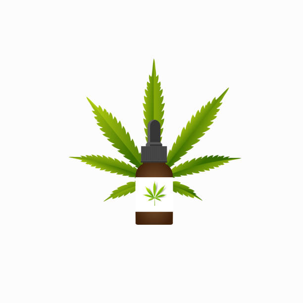 Medical marijuana plantconcept symbol with cannabis plant with leaves intertwined around vector art illustration