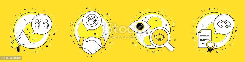istock Medical mask, Do not touch and Social distancing icons set. Myopia sign. Respirator, Not allowed, Quarantine. Vector 1281634962