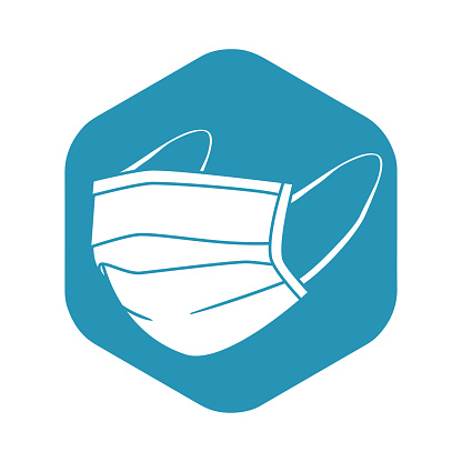 Medical mask icon. Protection against viruses, and diseases transmitted by airborne droplets. White mask on a blue hexagon in a simple style. Vector illustration for design and web, isolated.