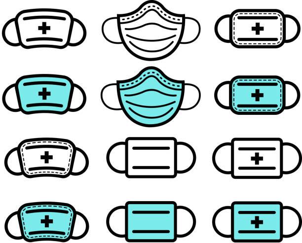 illustrazioni stock, clip art, cartoni animati e icone di tendenza di icone delle maschere mediche - mask surgery