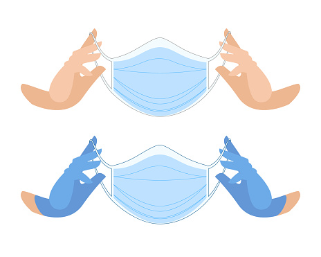 Medical mask in gloved hands. Protective face mask against viruses and bacteria. clean hands in blue gloves. professional medical care accessories.