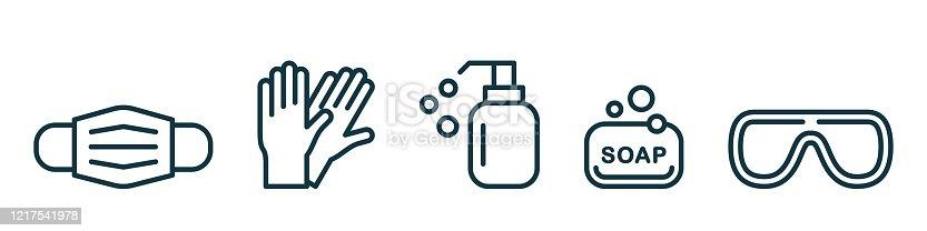 istock Medical mask, latex gloves, soap, dispenser, protective glasses. 1217541978