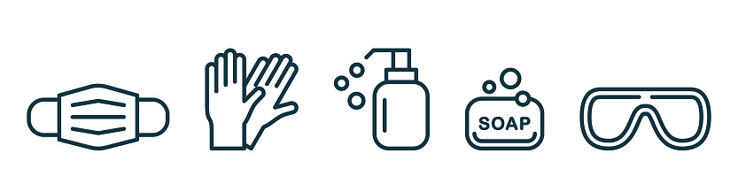 Personal protection equipment icons - medical mask, latex gloves, soap, dispenser, protective glasses. Coronavirus, covid 19  prevention items. Line, outline symbols. Vector illustration