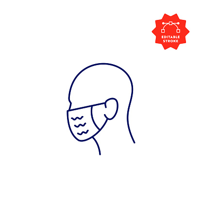 Medical Mask Line Icon with Editable Stroke and Pixel Perfect.