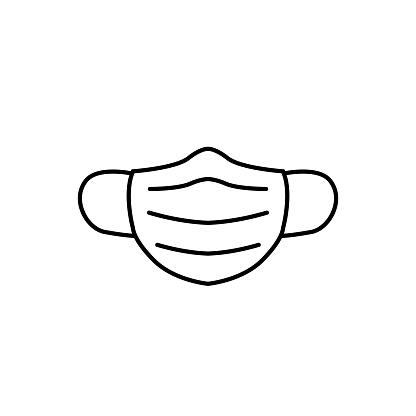 Medical mask outline icon vector isolate on white background for graphic design, logo, web site, social media, mobile app, ui illustration