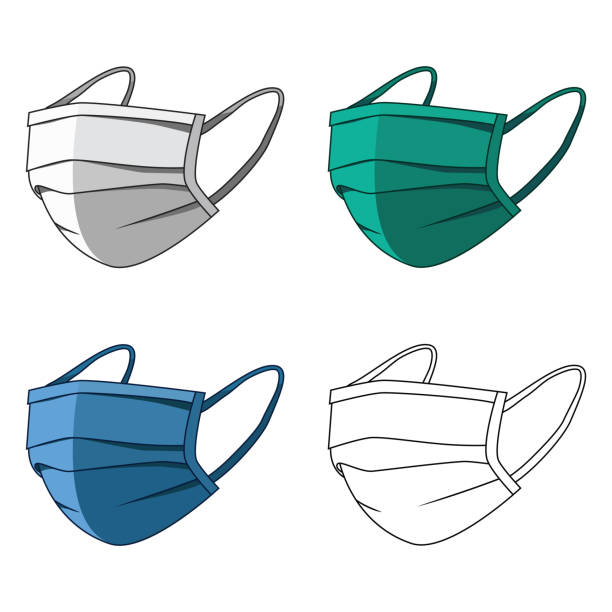 Medical mask. Protection against viruses and diseases transmitted by airborne droplets. 3 color masks and outlines in a simple flat style. Vector illustration for design and web isolated. Medical mask. Protection against viruses and diseases transmitted by airborne droplets. 3 color masks and outlines in a simple flat style. Vector illustration for design and web isolated. tandvård stock illustrations