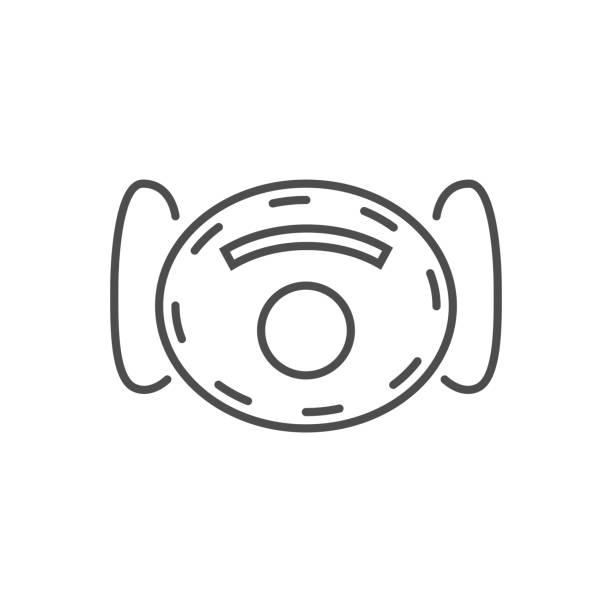 ilustrações de stock, clip art, desenhos animados e ícones de ffp2 medical mask related vector thin line icon. - ffp2