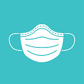 Medical mask vector icon.