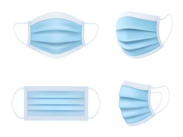 医療マスクベクター現実的なモデル、コロナウイルスおよびウイルス疾患保護。医療用フェイスマスク前面および側面図、抗菌および抗ウイルス衛生、ヘルスケアおよび疾病予防マスク - マスク点のイラスト素材/クリップアート素材/マンガ素材/アイコン素材