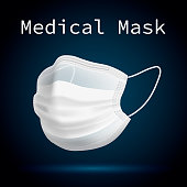 Medical mask to protect people from viruses and polluted air. 3D volumetric realistic image. Realistic on a dark background. Vector illustration.