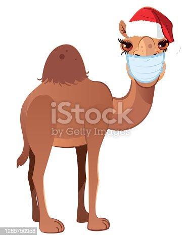 istock Medical Masked Camel and Santa Hat 1285750958