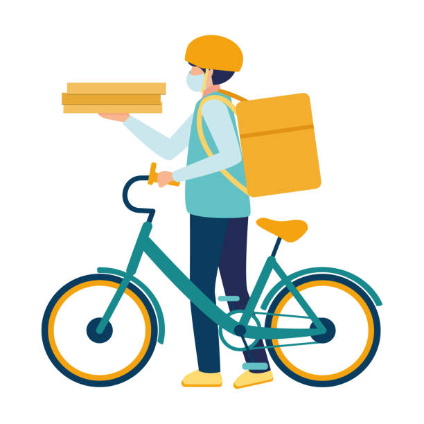 ilustrações de stock, clip art, desenhos animados e ícones de a medical masked courier delivers food on a bicycle during the covid19 coronavirus virus epidemic. deliveryman with a parcel box on the back and pizza boxes in hand. boy with food delivery service. - covid restaurant