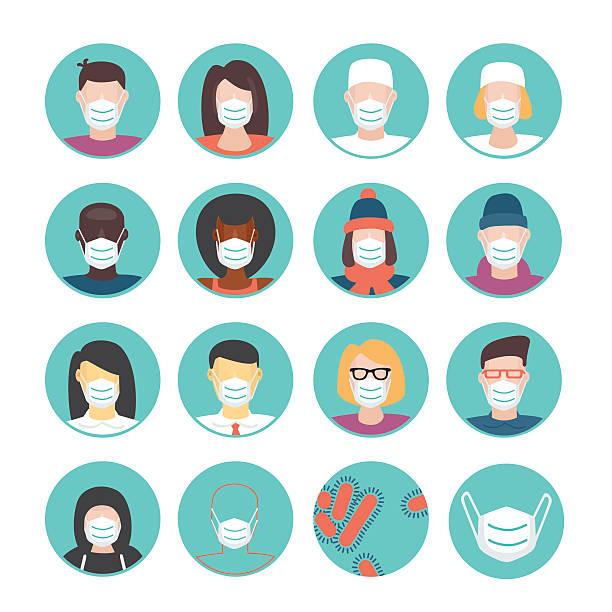 medical masks set - face mask stock illustrations