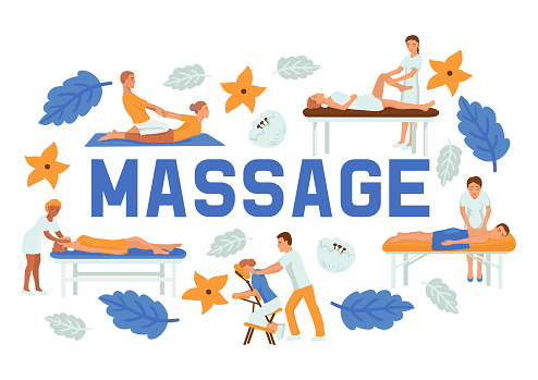 Medical massage people poses set of banners vector illustration. Osteopaths performing treatment manipulations or massaging their patients. Set of specialists in osteopathy, chiropractic.