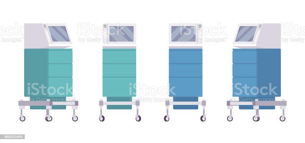 Conjunto de carrinho de monitor médico - ilustração de arte em vetor