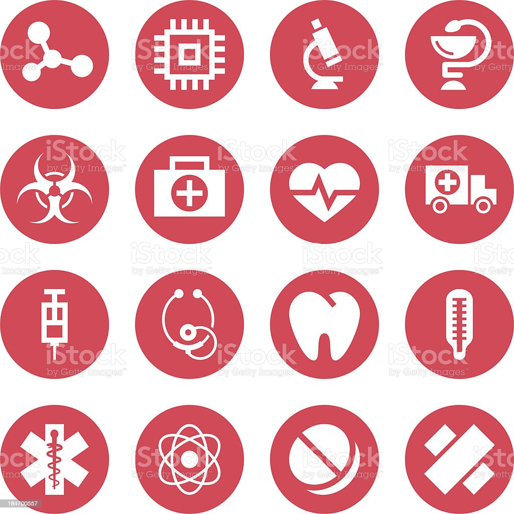 Medical monochrome red icons royalty-free medical monochrome red icons stock vector art & more images of accidents and disasters