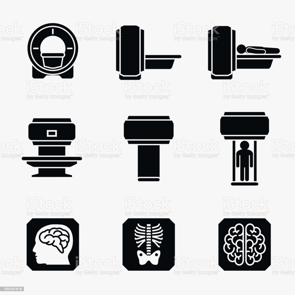 Medical MRI scanner diagnostic. Vector icons vector art illustration