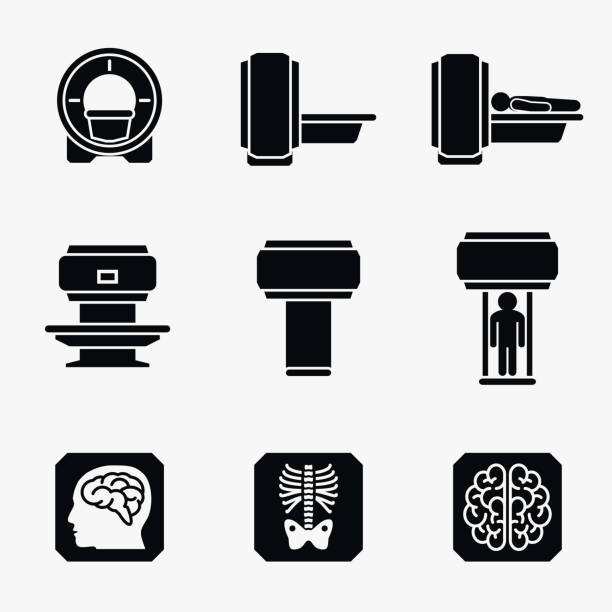 Medical MRI scanner diagnostic. Vector icons Medical MRI scanner diagnostic. Scanner mri diagnostic icon, medical mri diagnostic radiology, mri diagnostic medicine illustration. Vector icons radiology stock illustrations