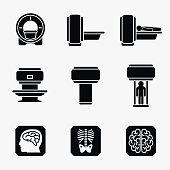 Medical MRI scanner diagnostic. Vector icons