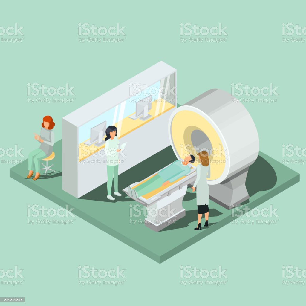 Medical MRI scanner, medical personnel and patient isometric projector vector vector art illustration