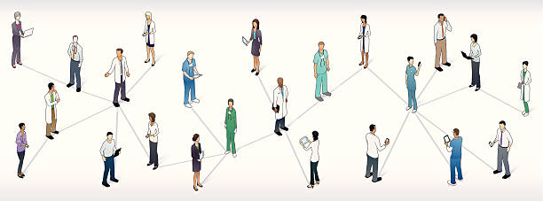 Medical Network Panoramic Illustration vector art illustration