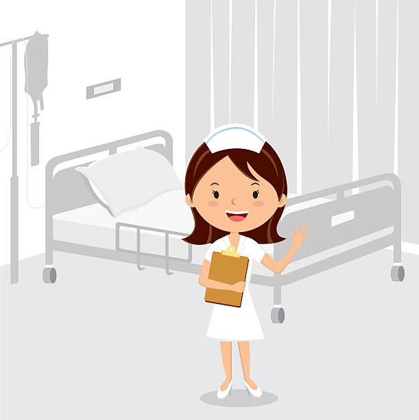 ilustrações, clipart, desenhos animados e ícones de enfermeira médicos no ala de hospital - enfermeira