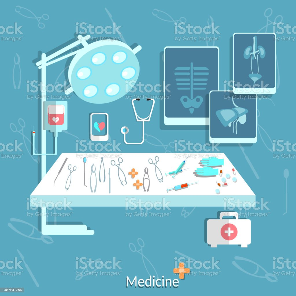 Medical: operating, stethoscope, surgery vector art illustration