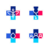 Medical or pharmacy logo templates or icons with cross and medical symbols