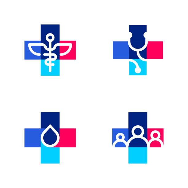 illustrazioni stock, clip art, cartoni animati e icone di tendenza di modelli di logo medici o farmaceutici o icone con simboli incrociati e medici - farmacia