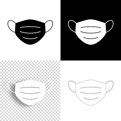 Medical or surgical face mask. Icon for design. Blank, white and black backgrounds - Line icon