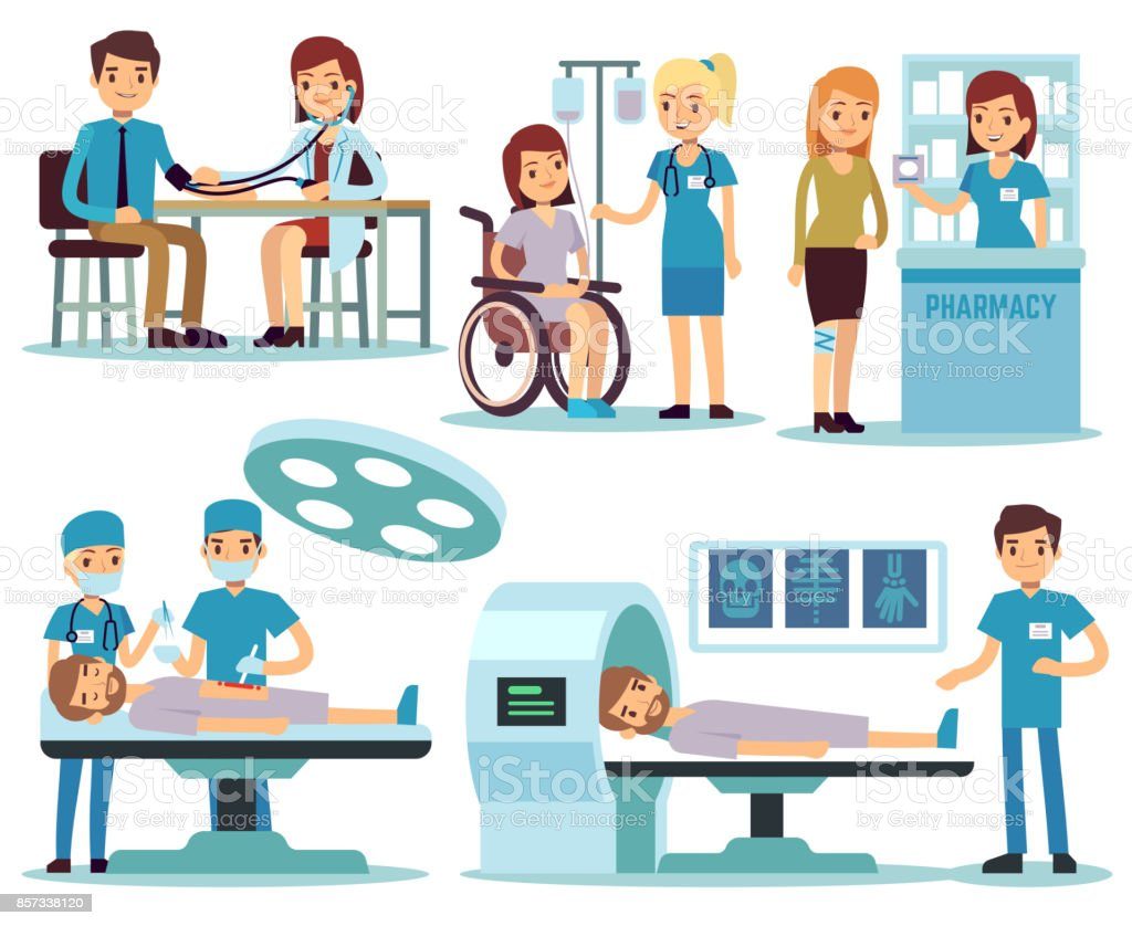 Medical patient and doctors in medical activity vector set vector art illustration