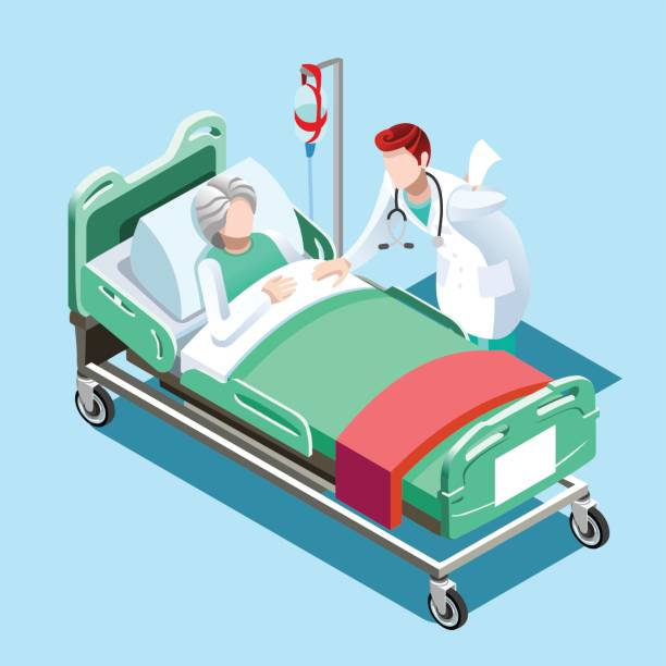Medical Patient Bed and Doctor Talking Vector Isometric People Flat 3D illustration Isometric interior of hospital room. Doctors treating the patient. Hospital clinic interior operation ward cells flat 3d isometry isometric concept web vector illustration. hospital bed stock illustrations