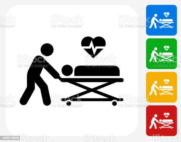 Medical Patient Icon. This 100% royalty free vector illustration features the main icon pictured in black inside a white square. The alternative color options in blue, green, yellow and red are on the right of the icon and are arranged in a vertical column.