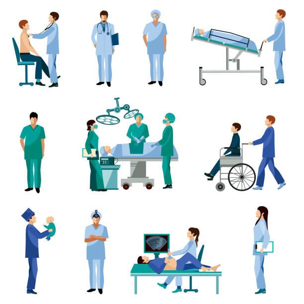 stockillustraties, clipart, cartoons en iconen met medische mensenpictogrammen - chirurgie