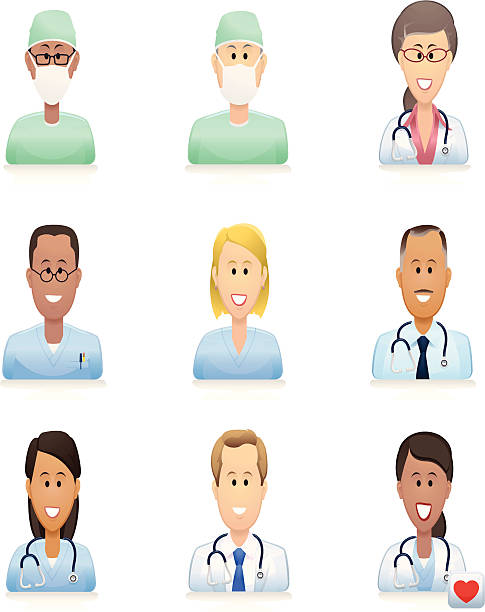 medical people icons Icons of hospital doctors, surgeons, nurses and other medical practitioners. Download includes EPS file and hi-res jpeg. male nurse stock illustrations