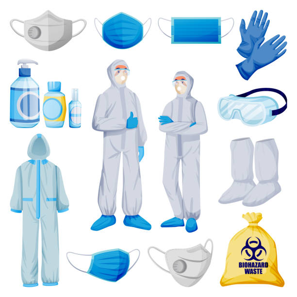 Medical personal protective equipment from viral infection and pollution. Vector illustration of protection clothes Medical personal protective equipment from viral infection, pollution. Vector illustration of protection clothes, isolated on white background. Face mask, respirator, gloves, uniform, sanitizer icons protective workwear stock illustrations