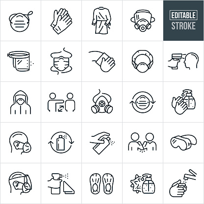 A set of medical personal protective equipment icons that include editable strokes or outlines using the EPS vector file. The icons include a face mask, surgeons mask, latex gloves, surgeons gown, gas mask, face shield, cleaning, cleaner, hair net, temperature gun, hazmat, hazmat suit, social distancing, respirator, hand sanitizer, person wearing a face mask, person wearing a face mask and face shield, spray cleaner, elbow bump, goggles, foot booties, virus and hand washing to name a few.