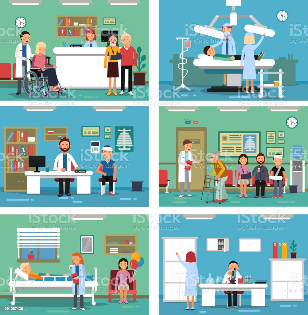 Medical personnel at work. Nurse doctor and patients in hospital interiors. Vector illustration vector art illustration