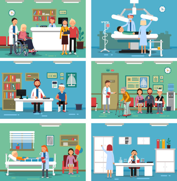 medical personnel at work. nurse doctor and patients in hospital interiors. vector illustration - receptionist stock illustrations, clip art, cartoons, & icons