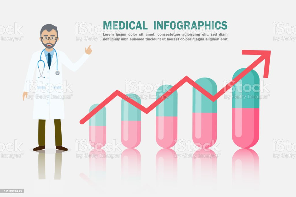 Medical Pharmaceutical Arrow Growth Chart Infographic Stock Vector