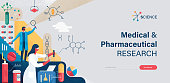 Flat trendy website banner with copy space text and vector illustration with hand drawn textures depicting medical and pharmaceutical research concept.