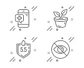 istock Medical phone, Leaves and Ph neutral icons set. Not looking sign. Mobile medicine, Grow plant, Water. Eye care. Vector 1181402204
