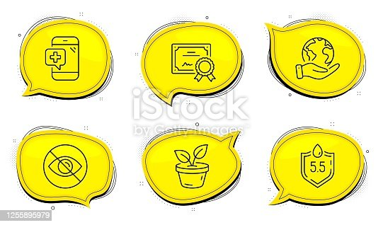 istock Medical phone, Leaves and Ph neutral icons set. Not looking sign. Mobile medicine, Grow plant, Water. Eye care. Vector 1255895979